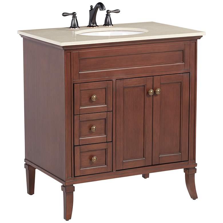 """Afton 32"""" Wide 3-Drawer Teak Wood Single Sink Vanity"""