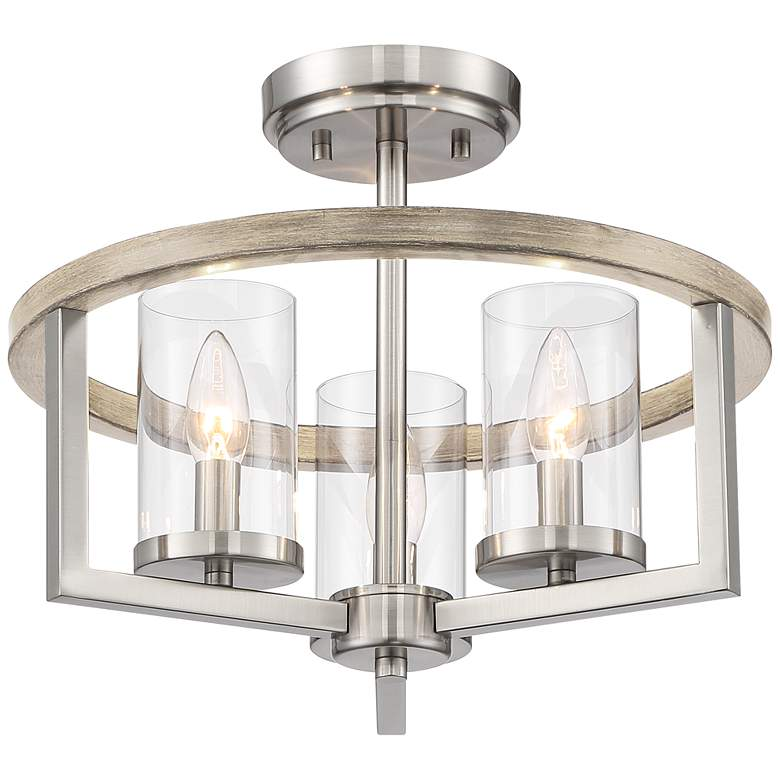 "Possini Euro Senna 15""W 3-Light Brushed Nickel Ceiling Light"
