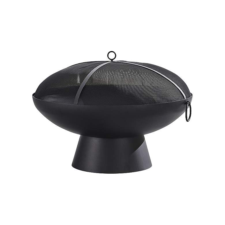 "Brooks 31 1/2""W Black Round Wood Burning Outdoor Fire Pit"