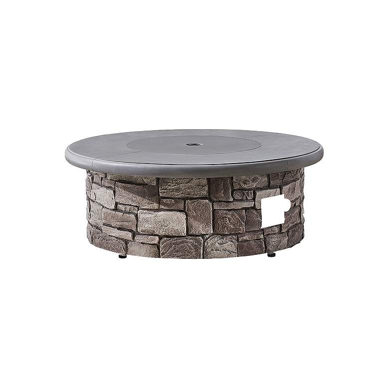 """Solay 40"""" Wide Gray Propane Round Outdoor Gas Fire Pit Table"""
