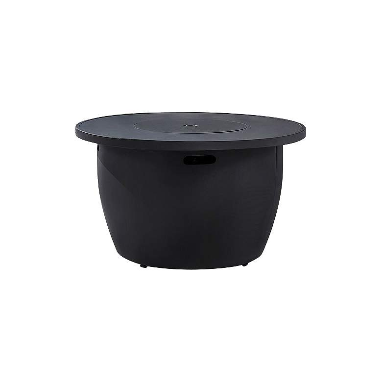 """Vanessa 42""""W Black Propane Round Outdoor Gas Fire Pit Table"""