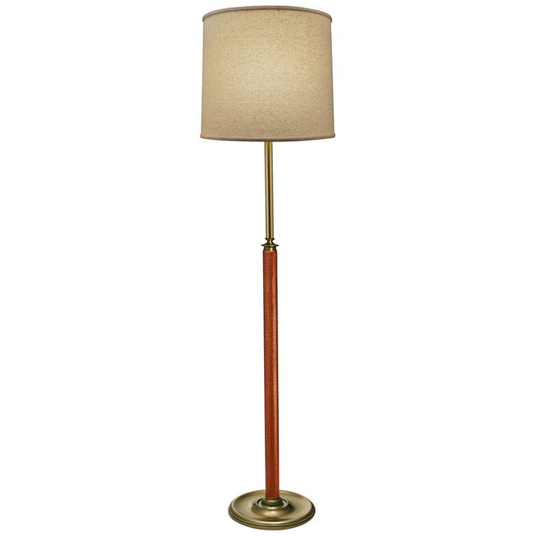 Stiffel Sheridan Antique Brass and Faux Leather Floor Lamp