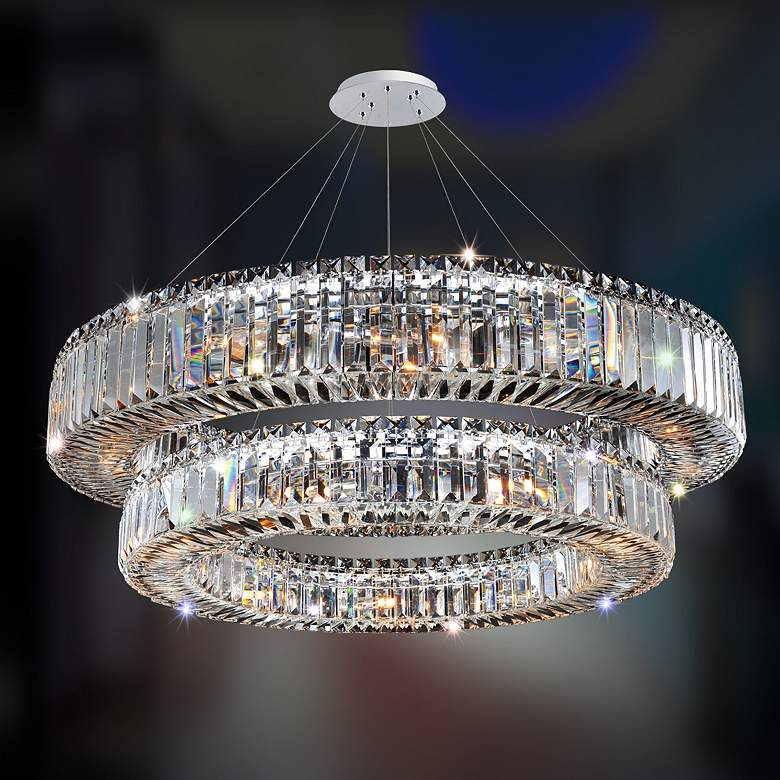 "Allegri Rondelle 36""W Chrome Crystal 2-Tier Pendant Light"
