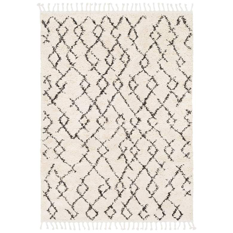 """Berber Shag BBE-2301 7'10""""x10'2"""" Charcoal and Beige Area"""