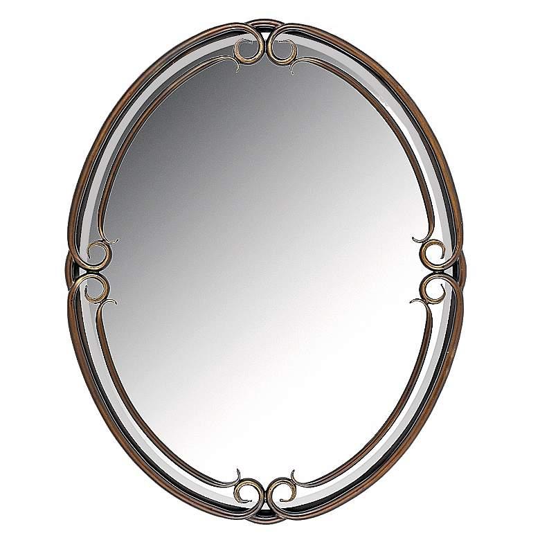 "Quoizel Duchess Bronze 24"" x 30"" Oval Wall Mirror"