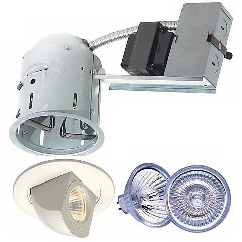 """4"""" Juno Non-IC Remodel Housing with White Trim and Bulb"""