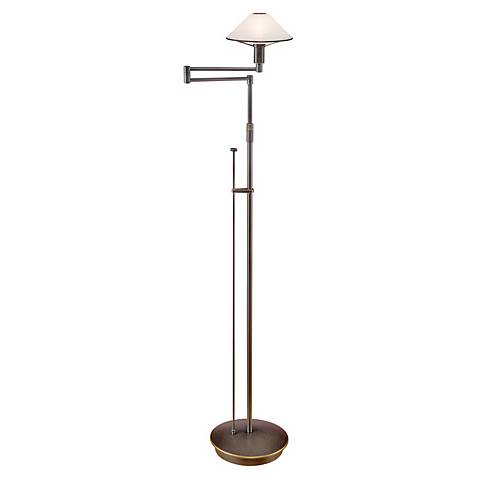 Holtkoetter Bronze Satin White Glass Swing Arm Floor Lamp