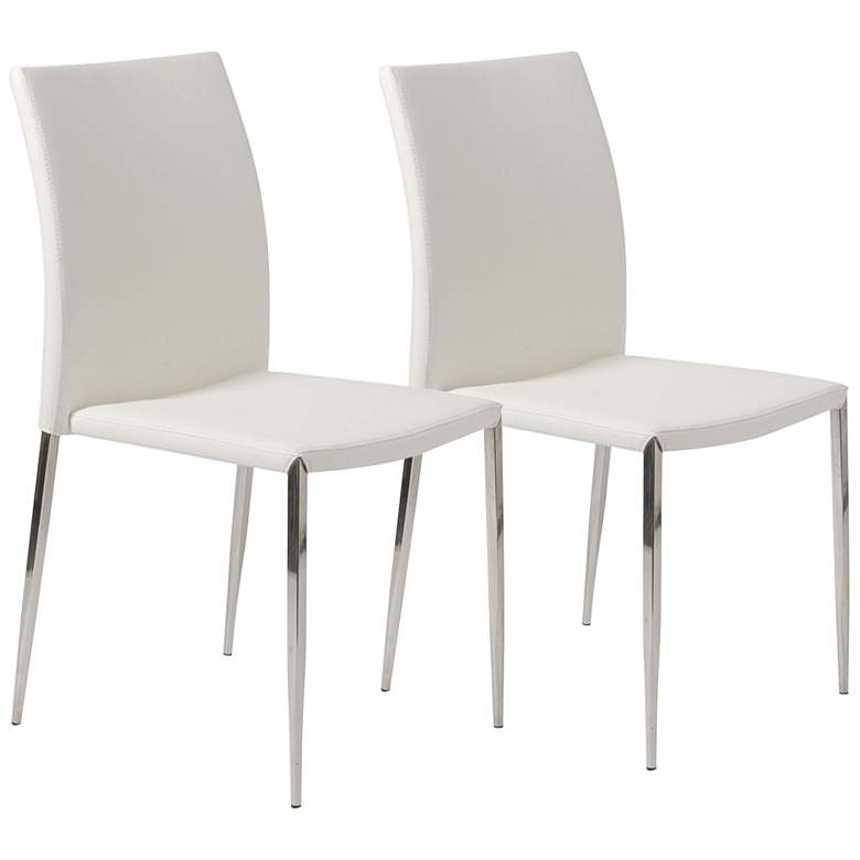 Diana White Faux Leather Dining Chairs Set of 2