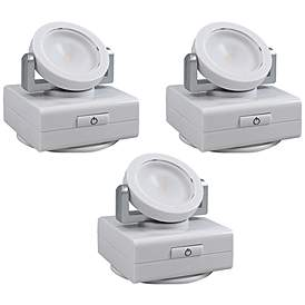 Set Of 3 White Swivel W Battery Operated Led Lights