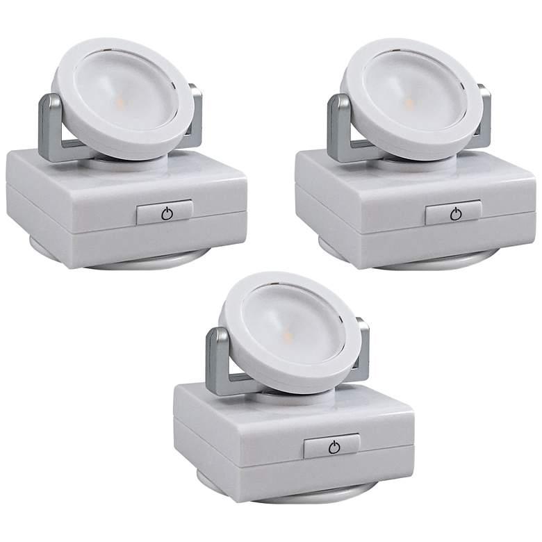 "Set of 3 White Swivel 3""W Battery Operated LED Lights"