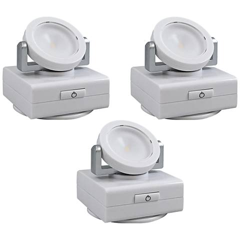 "Set of 3 White Swivel 3""W Battery Operated LED Lights"