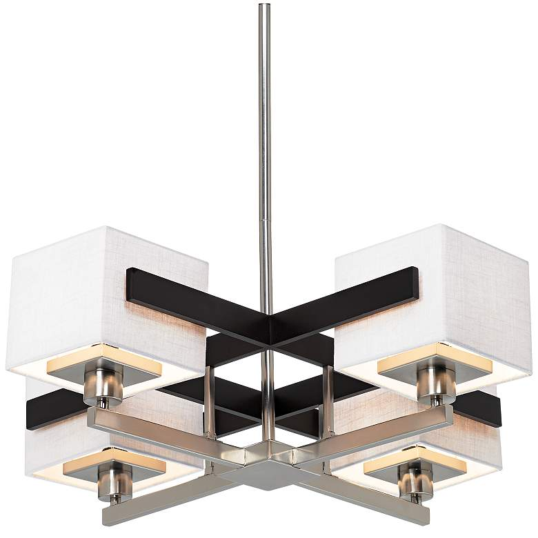 Possini Euro Quartet Mirrored Grid Metal and Wood Chandelier