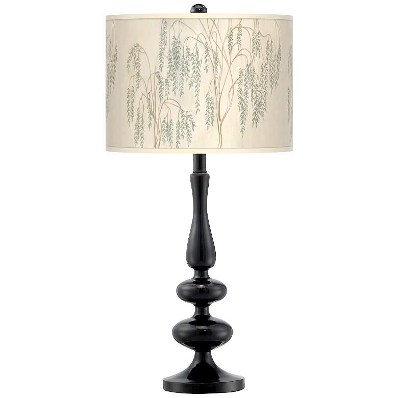 Weeping Willow Giclee Paley Black Table Lamp