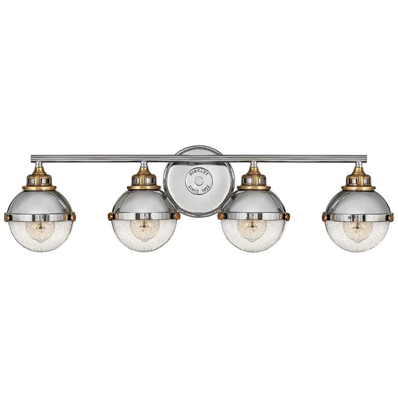 "Hinkley Fletcher 32"" Wide Polished Nickel 4-Light Bath Light"