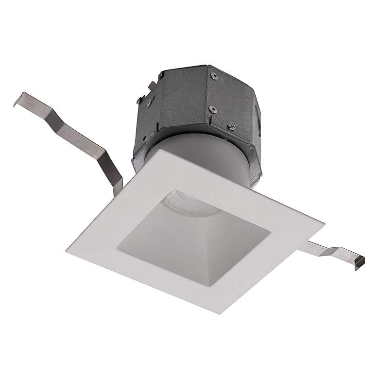 """WAC Pop-in 4"""" White Square New Construction LED Recessed Kit"""