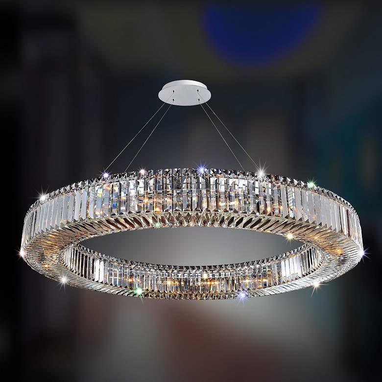"""Allegri Rondelle 47"""" Wide Chrome Crystal Ring Pendant Light"""