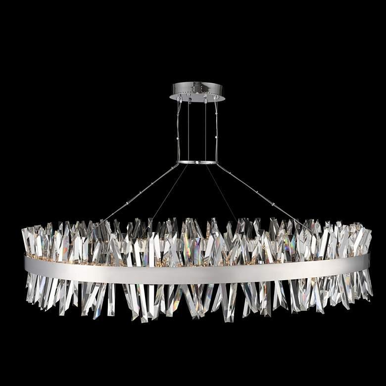 "Glacier 60""W Chrome Crystal Round LED Island Pendant Light"