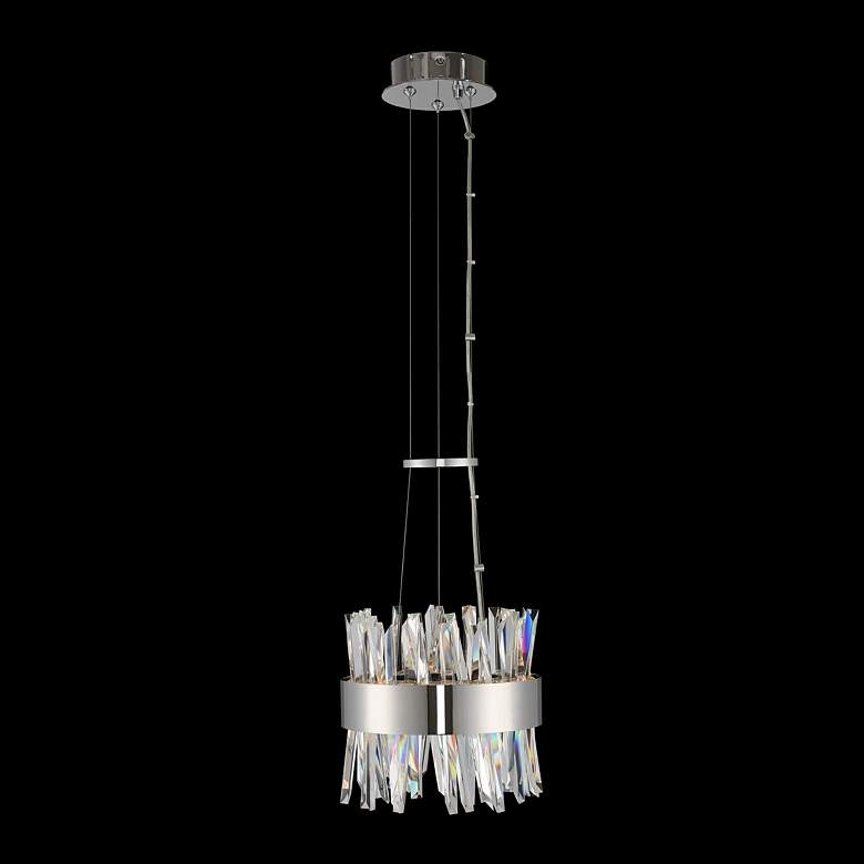 "Glacier 10"" Wide Chrome Crystal Round LED Mini Pendant Light"