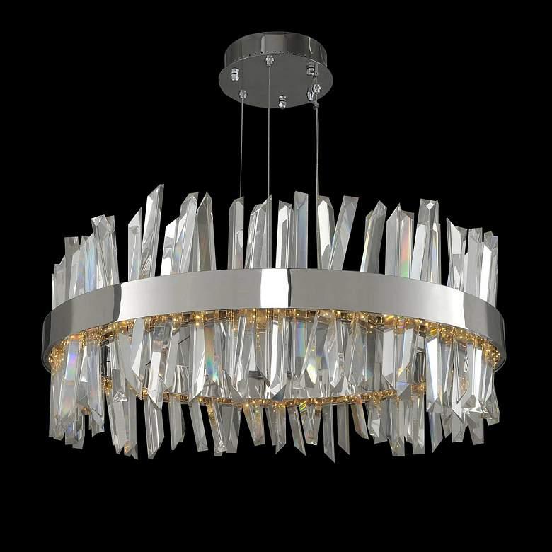 "Allegri Glacier 32""W Chrome Crystal Round LED Pendant Light"