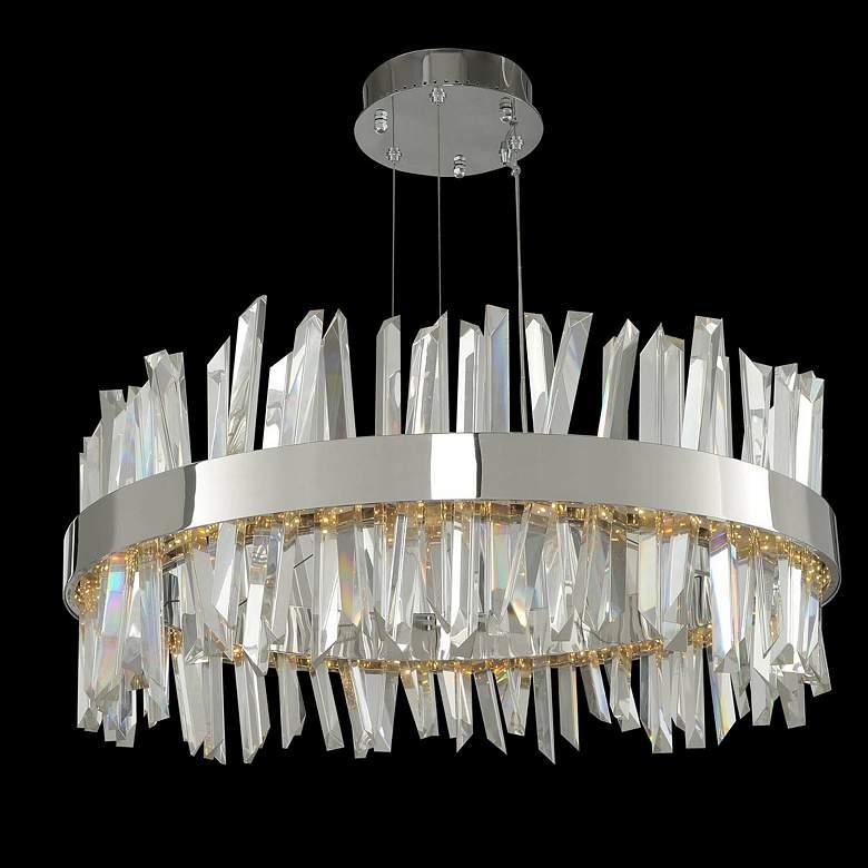 "Allegri Glacier 25""W Chrome Crystal Round LED Pendant Light"
