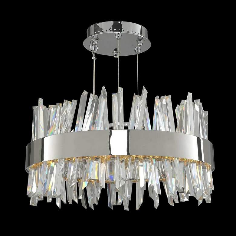 "Allegri Glacier 20""W Chrome Crystal Round LED Pendant Light"