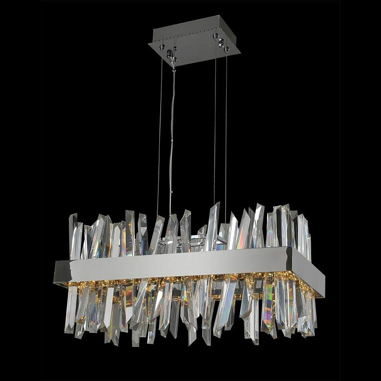 "Allegri Glacier 26""W Chrome Crystal LED Island Pendant Light"