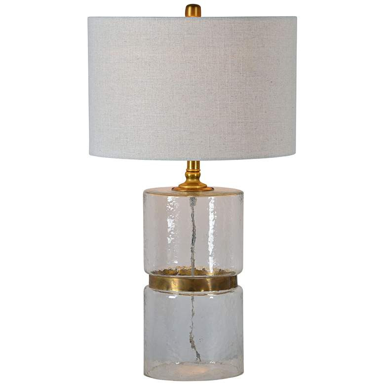 Forty West Oscar Brass Metal and Hammered Glass Table Lamp