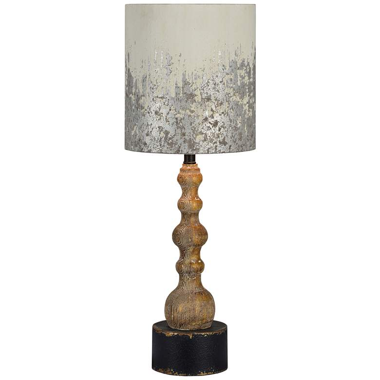 Knight Natural Wood Rustic Pedestal Table Lamp