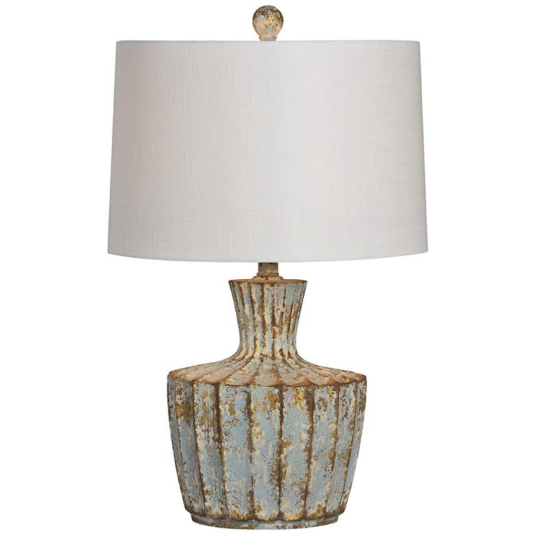 Forty West Jada Distressed Periwinkle Modern Vase Table Lamp