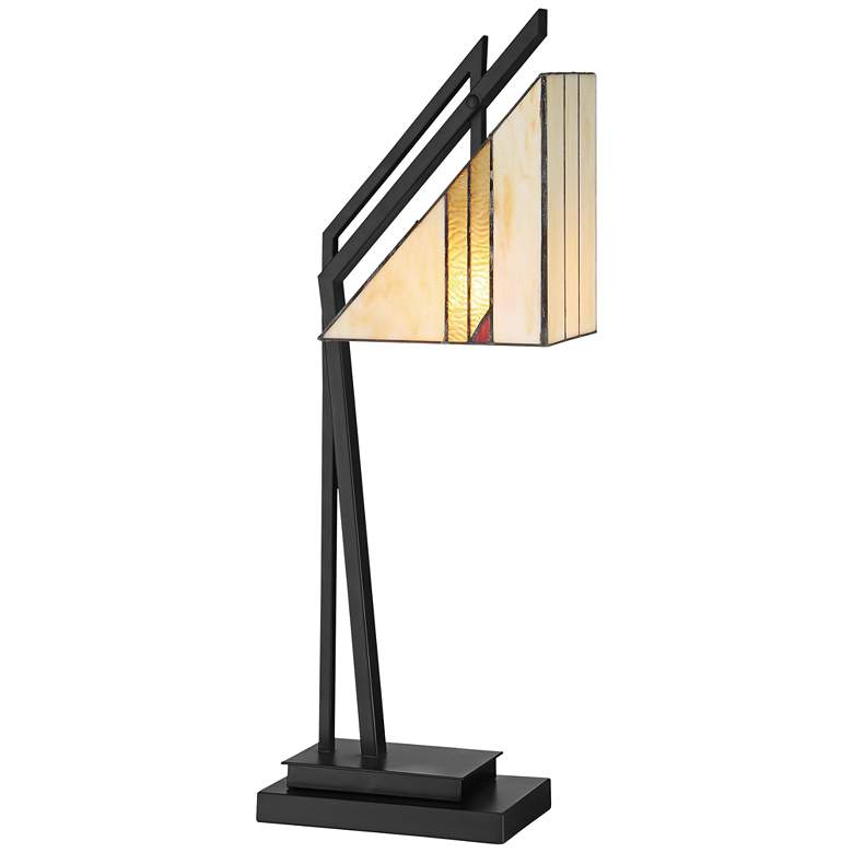 Lite Source Verda Black with Tiffany Art Glass Desk Lamp
