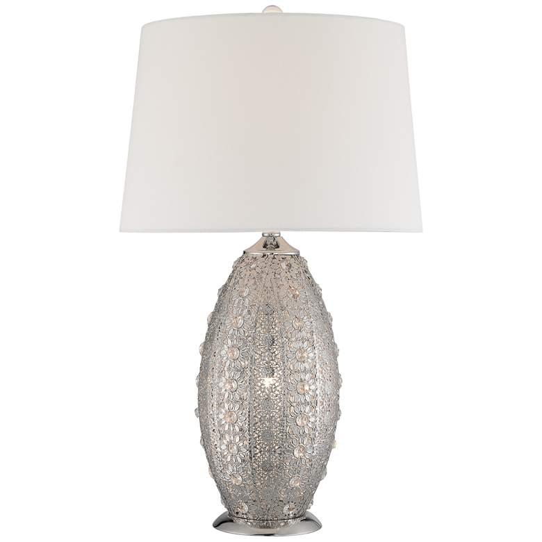 Lite Source Masura Nickel Crystal Table Lamp w/ Night Light