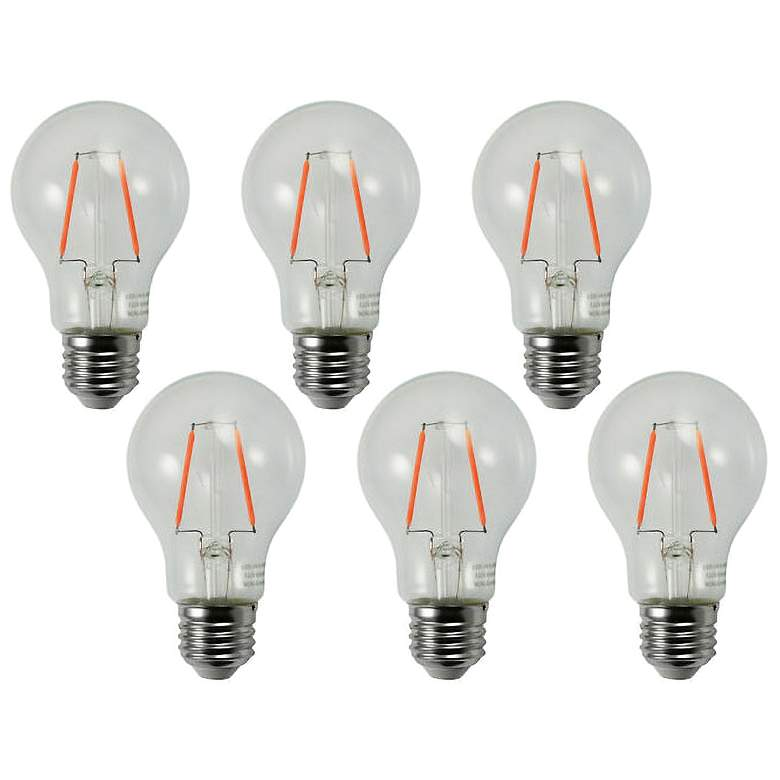 25W Equivalent Clear 2W LED Non-Dimmable Standard A19 6-Pack