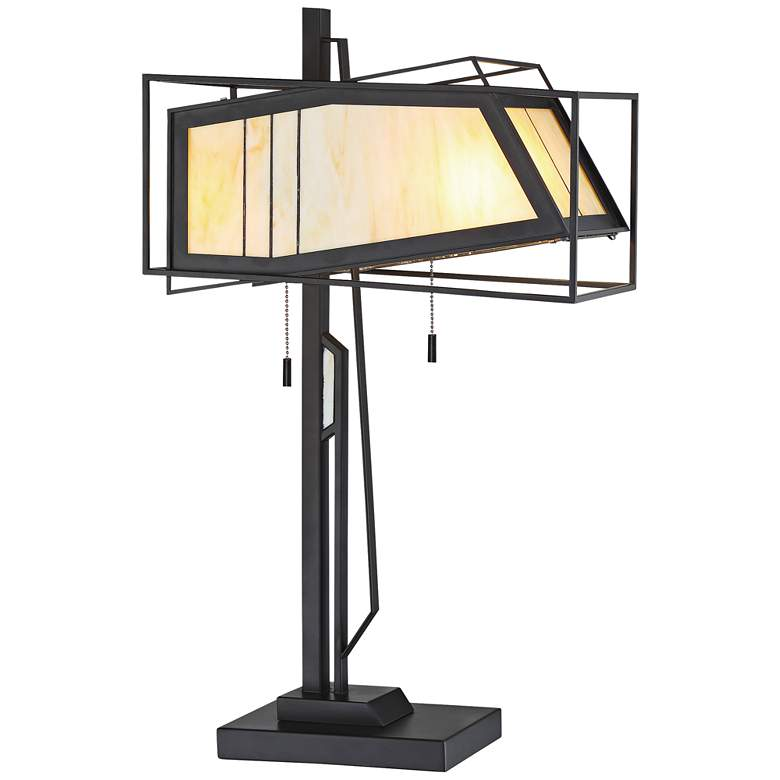 Lite Source Rodney Antique Black Tiffany Glass Table Lamp