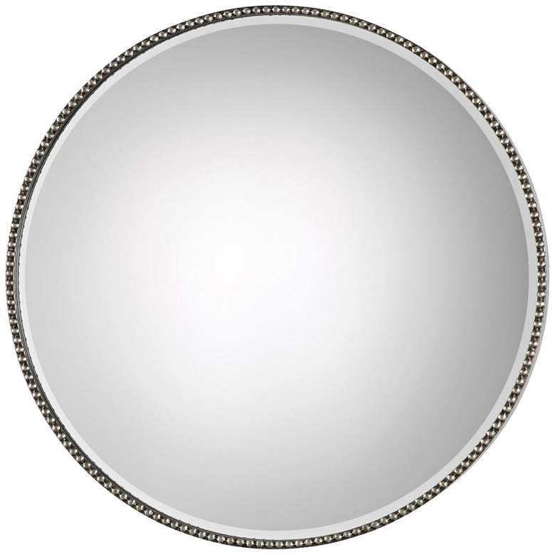 "Stefania Antiqued Silver Leaf 40"" Round Oversized Mirror"