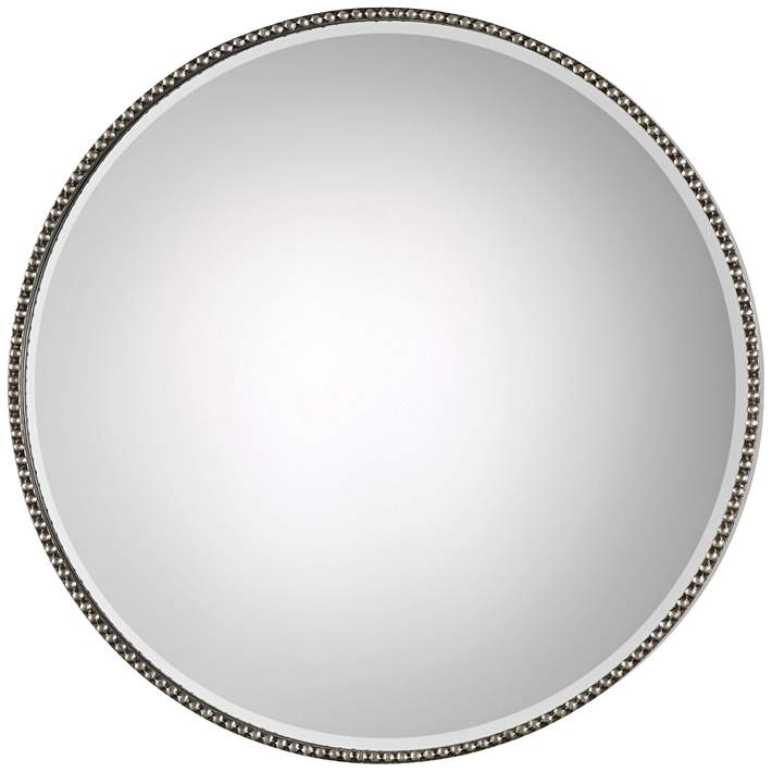 Stefania Antiqued Silver Leaf 40 Round, 40 Round Mirror