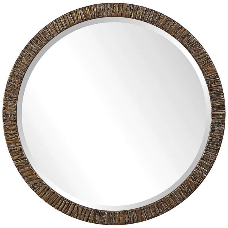 "Wayde Distressed Metallic Gold Wood 30"" Round Wall Mirror"
