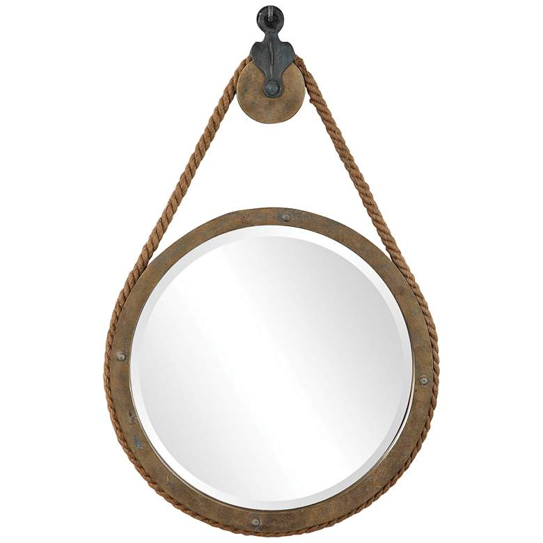 """Uttermost Melton Natural Wood Rope 25"""" x 36 1/2"""" Wall Mirror"""