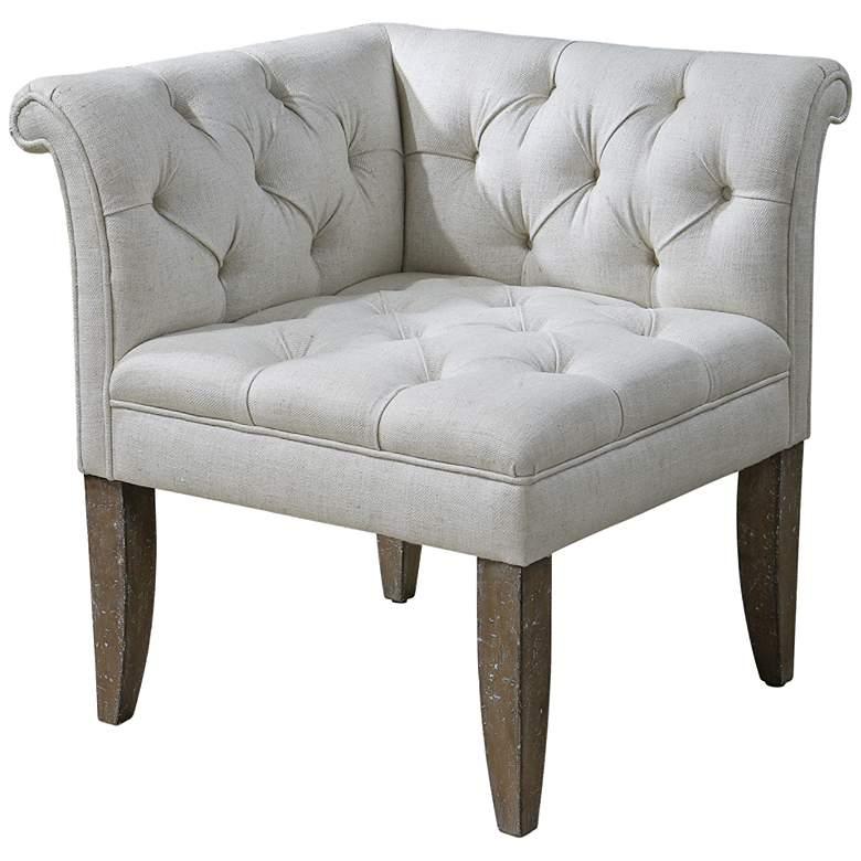 Uttermost Tahtesa White Tufted Corner Chair