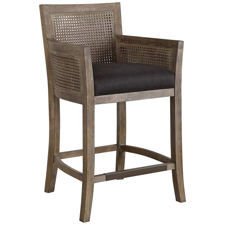 "Uttermost Encore 26 3/4"" Dark Gray Wood Counter Stool"