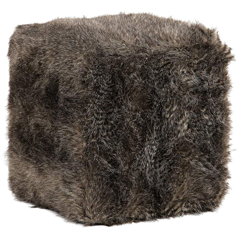 Uttermost Jayna Charcoal Brown Faux Fur Square Ottoman