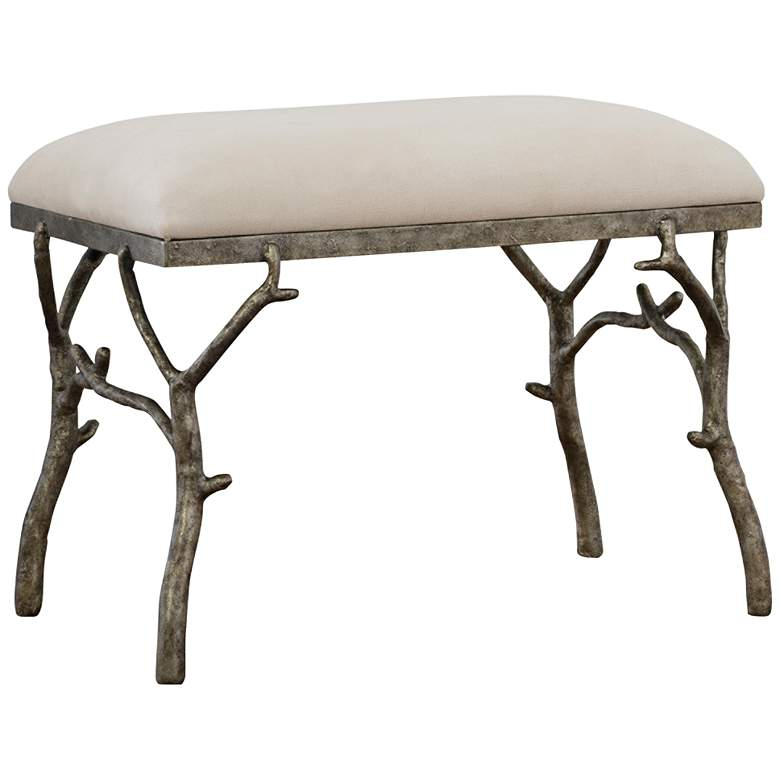 Uttermost Lismore Antique Silver Molded Branch Accent Bench