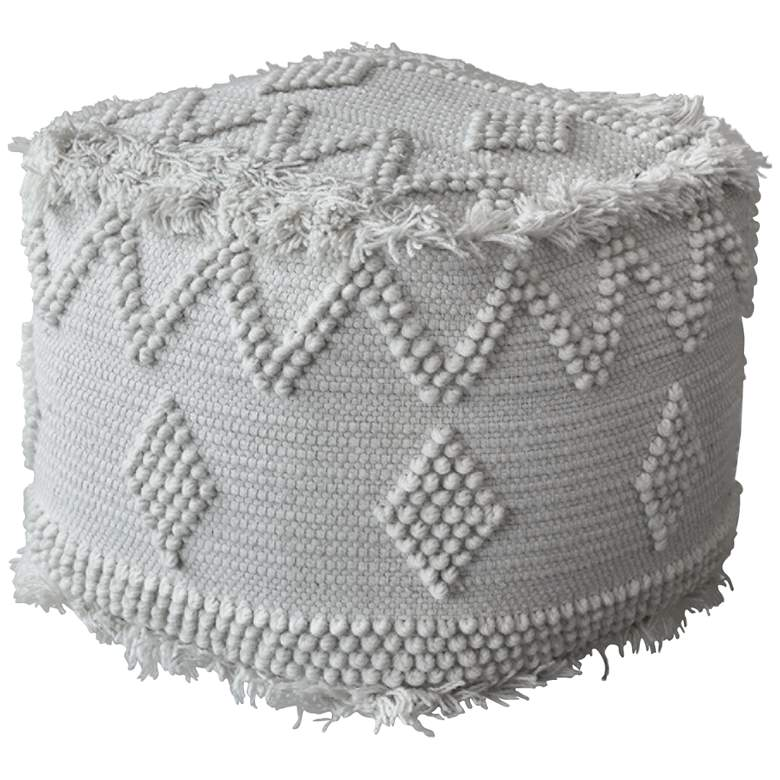 Uttermost Uriah White Ivory Wool Pouf Ottoman