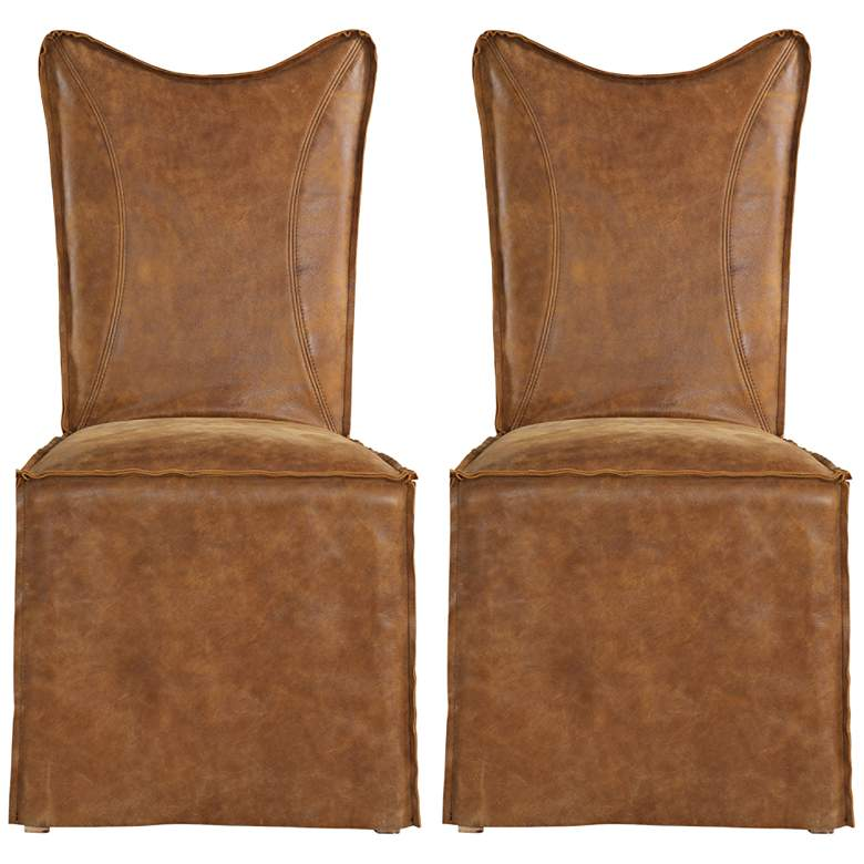 Delroy Cognac Leather Slipcover Dining Chairs Set of 2