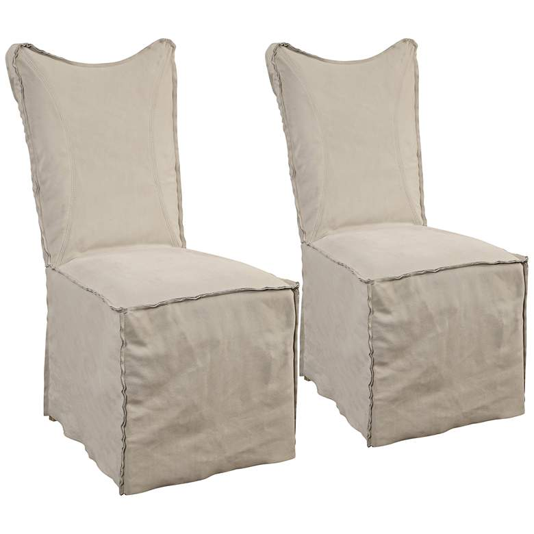 Delroy Stone Ivory Leather Slipcover Dining Chairs Set of 2
