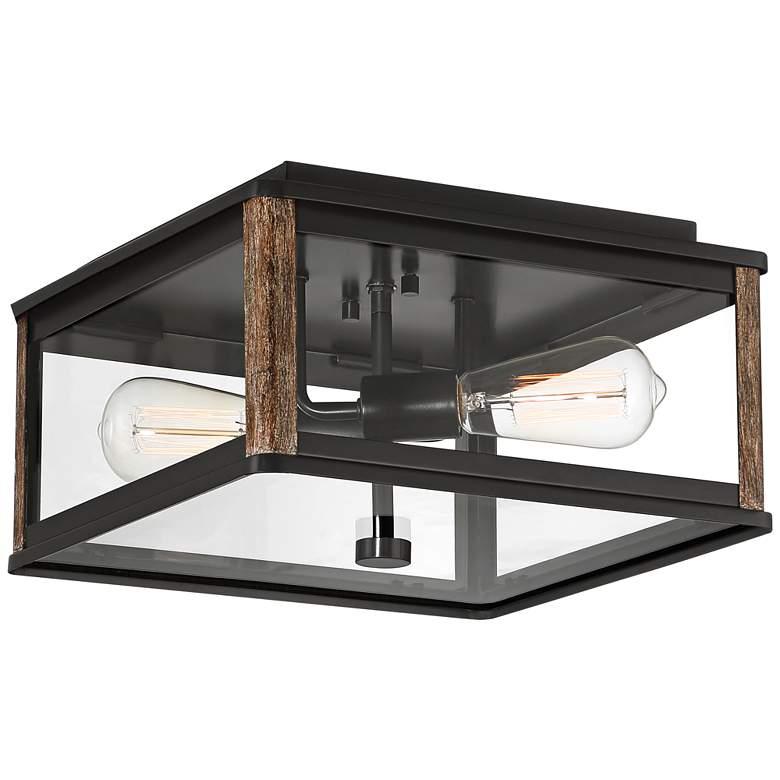 """Wordsworth Field 13"""" Wide Bronze and Wood Grain Outdoor Ceiling Light"""