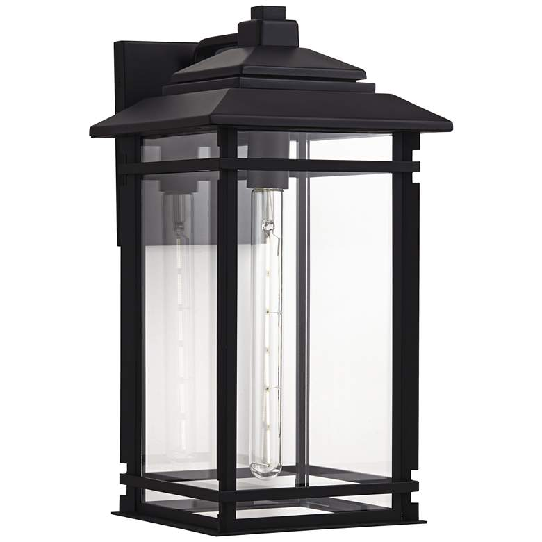 """North House 19"""" High Matte Black and Glass Outdoor Wall Light"""