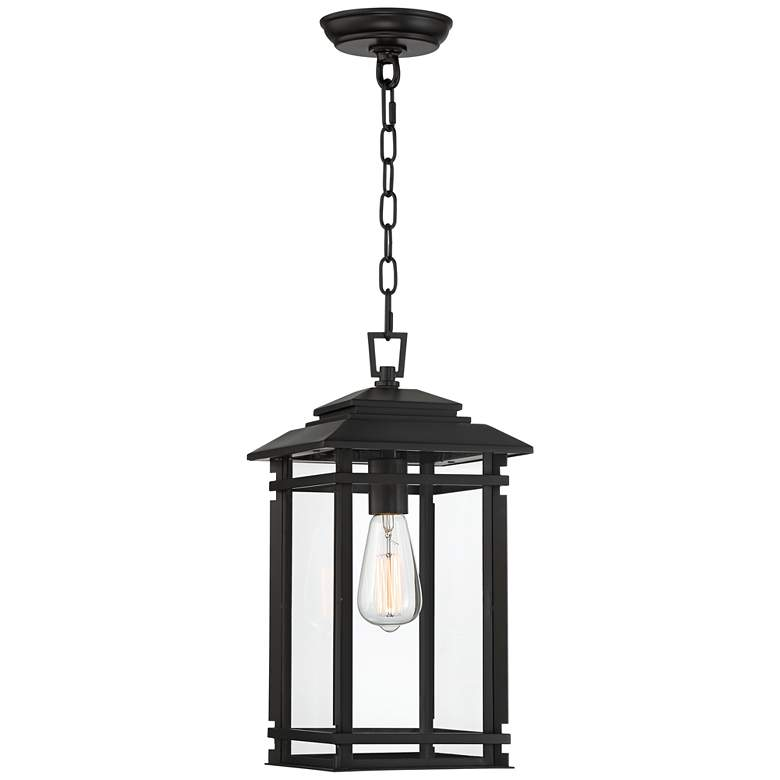 """North House 17"""" High Matte Black and Glass Outdoor Hanging Light"""
