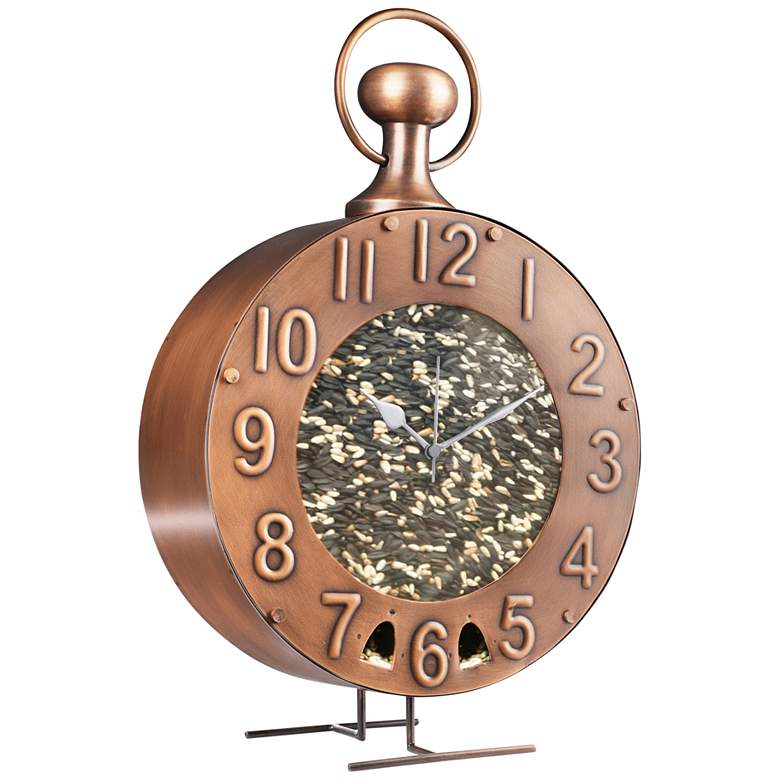 Time Flies Copper Metal Bird Feeder