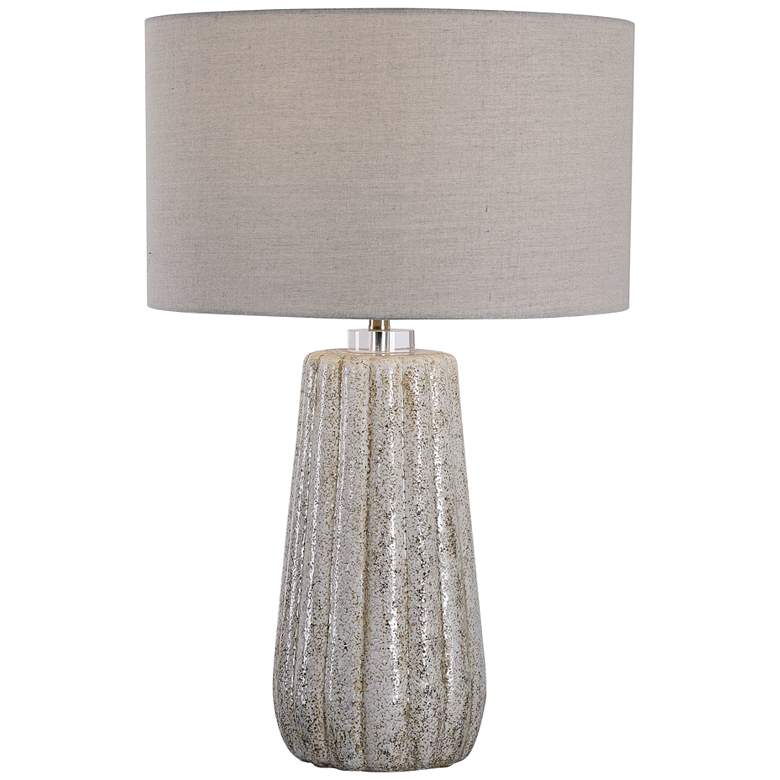 Uttermost Pikes Stone-Ivory and Taupe Ceramic Table Lamp