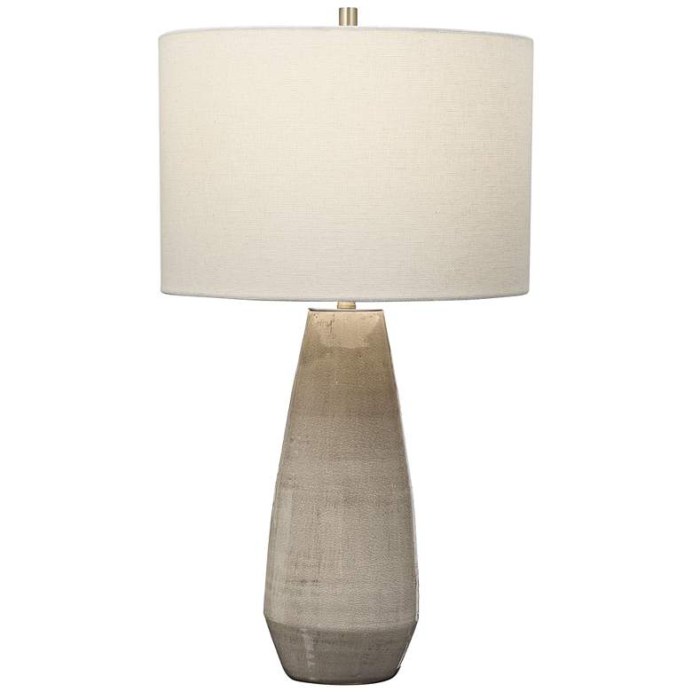 Uttermost Volterra Crackled Taupe-Gray Ceramic Table Lamp